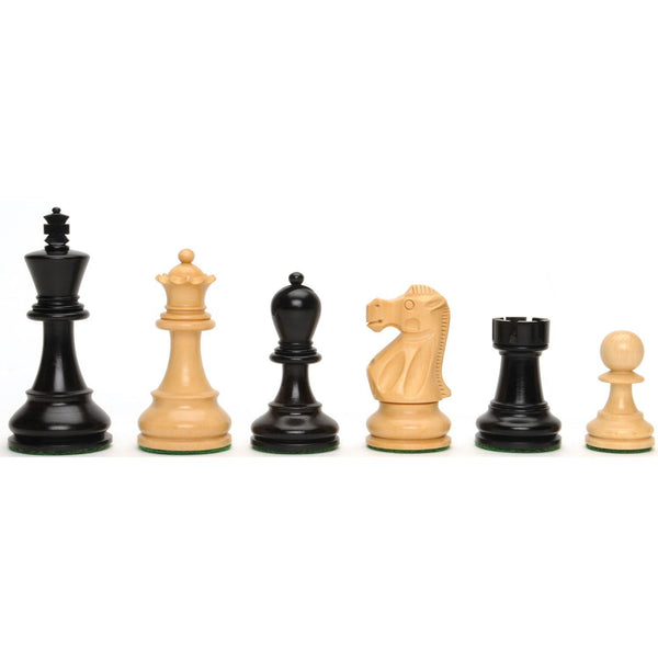 Deluxe Jacques Chessmen - Triple Weighted & Hand Polished Ebony Wood with  3.75 in. King