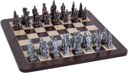 Chinese Qin Chess Set - Pewter Pieces & Walnut Root Board 16 in.