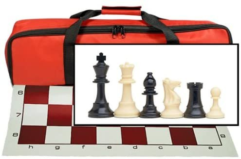 Tournament Chess Set with Red Bag - 3.75 Inch King Solid Plastic