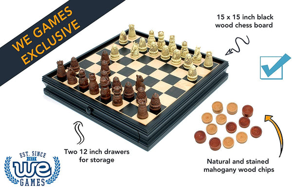 Medieval Chess & Checkers Set - Polystone Pieces, Black Stained Wooden Board with Storage Drawer - 15 in.