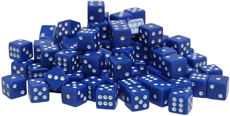 Blue Square Cornered Dice - 100 Pack
