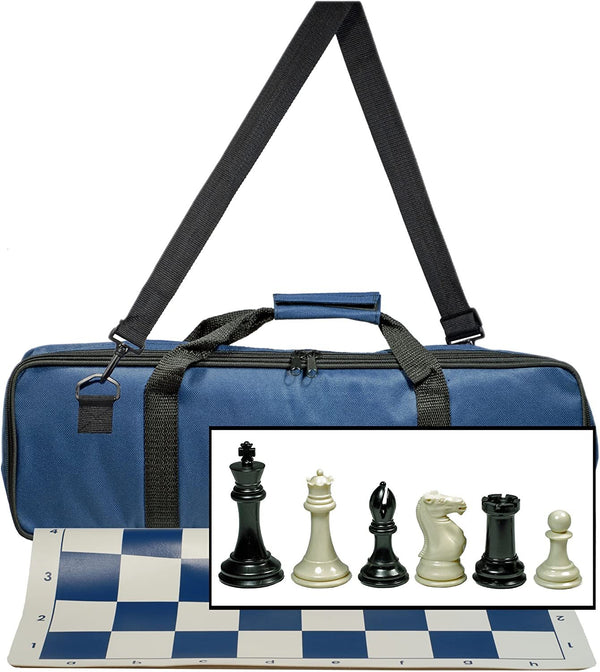 "WE Games Ultimate Tournament Chess Set with NEW Blue Silicone Chess Mat, Blue Canvas Bag & Super Triple Weighted Chessmen with 4"" King"