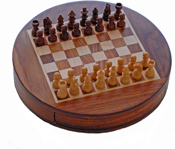 Wood Magnetic Round Chess Set -7 Inch