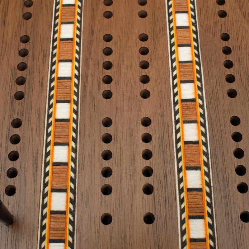 Classic Cribbage Set - Solid Walnut Wood with Inlay Sprint 3 Track Board with Metal Pegs