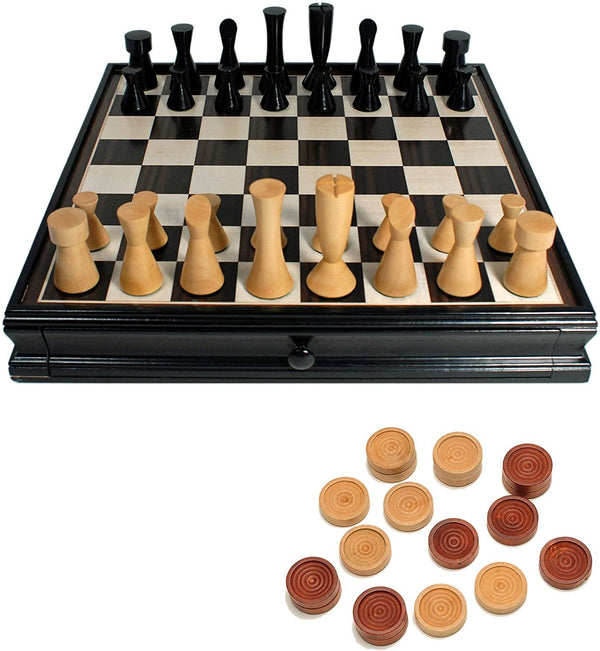 Modern Chess & Checkers Game Set - Weighted Chessmen & Black Stained Board with Storage Drawers