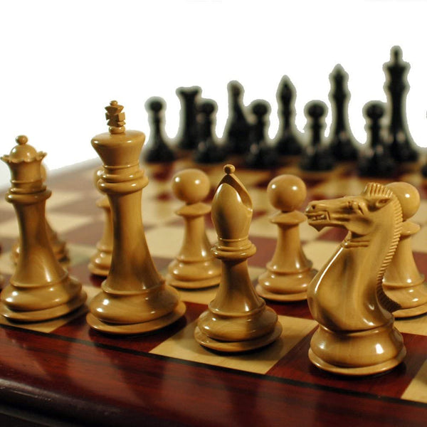 Luxury Staunton Redwood Chess Set - Triple Weighted Pieces with Leather Bottoms & Redwood Board 21 in.
