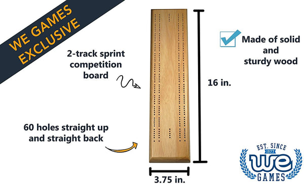 Competition Cribbage Set - Solid Wood Sprint 2 Track Board with Metal Pegs