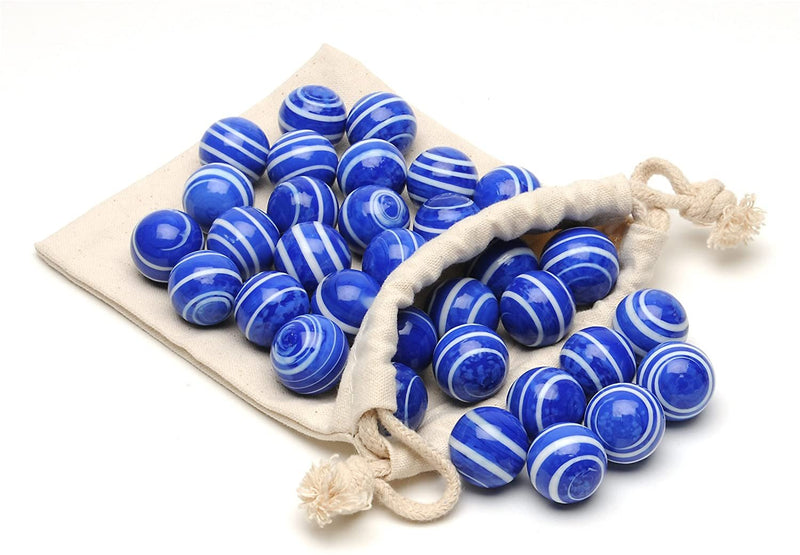 Blue Stripe Marbles for Solitaire- Set of 33