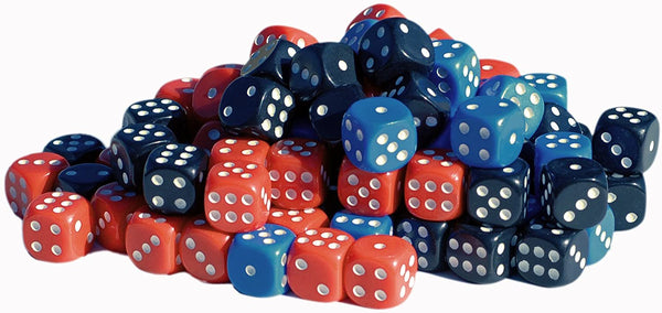 100-Pack of Dice with Rounded Corners- White, Black, Red, & Blue
