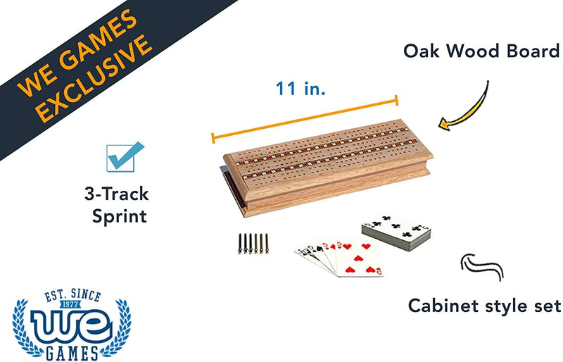 Cabinet Cribbage Set - Solid Oak Wood with Inlay Sprint 3 Track Board with Metal Pegs & 2 Decks of Cards