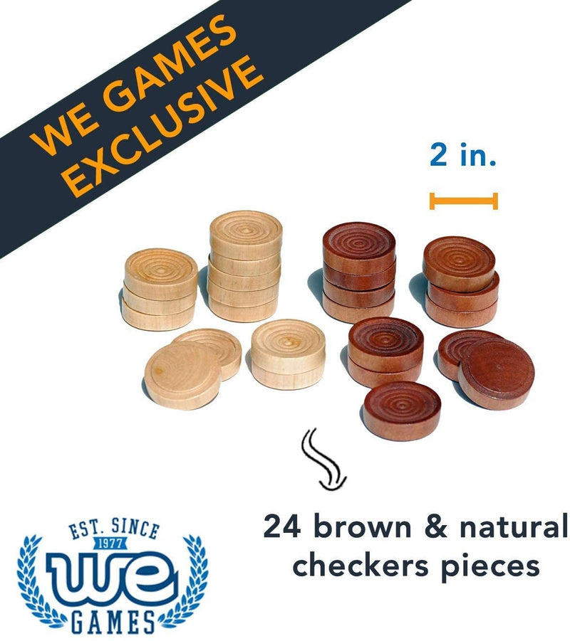 Wood Checkers with Stackable Ridge - Dark Brown/Natural - 2 Inches in Diameter