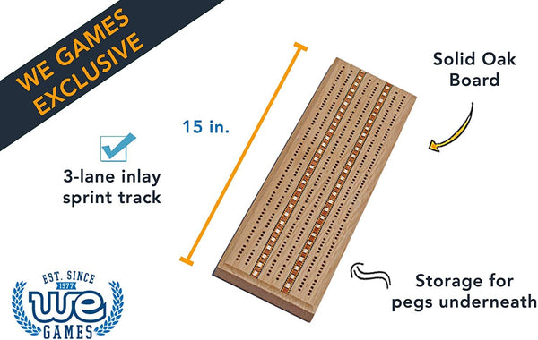 Classic Cribbage Set - Solid Oak Wood with Inlay Sprint 3 Track Board with Metal Pegs