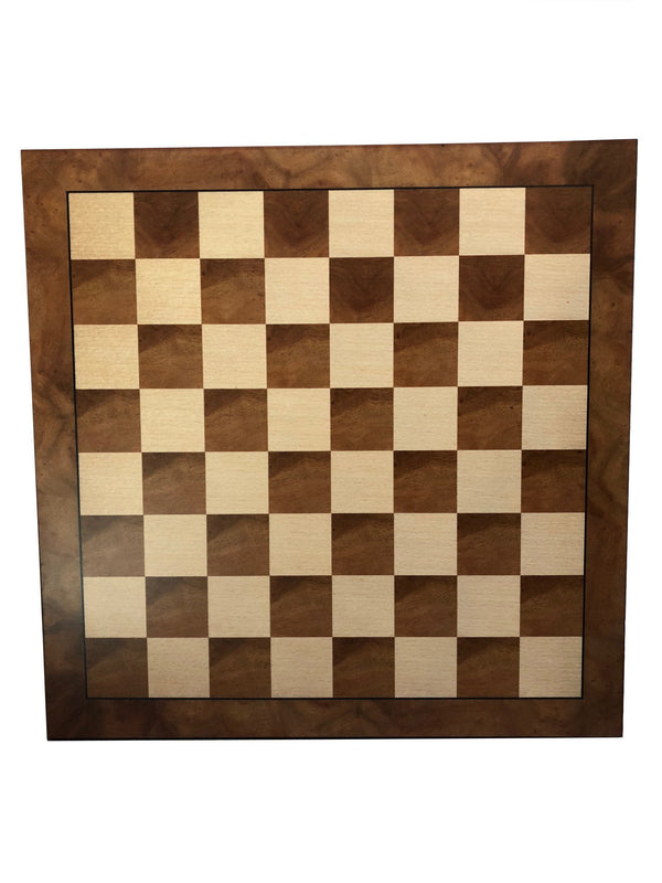 Deluxe Camphor & Burl Wood Chess Board with Black Border - 19 inches
