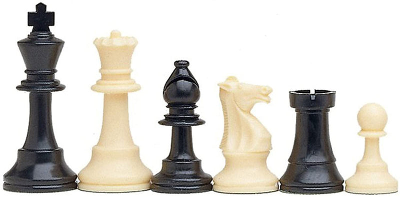 Tournament Chess Set with Green Bag - 3.75 Inch King Solid Plastic