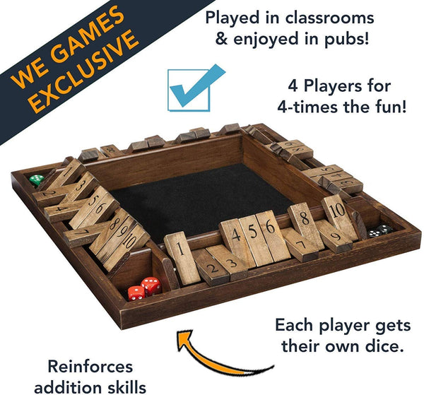 WE Games 4-Player Shut the Box - Large Coffee Table Version