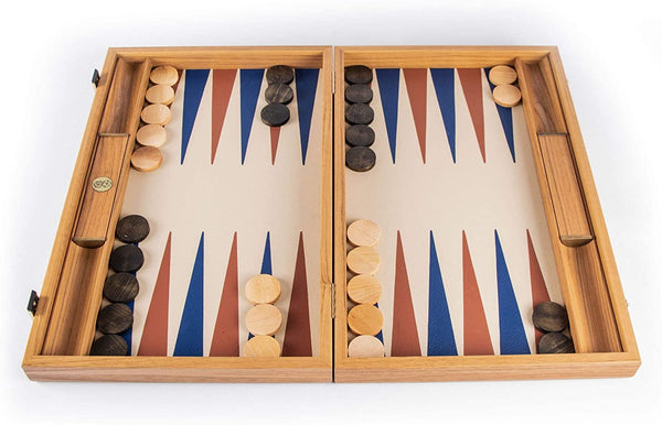 WE Games Luxury Natural Wood Backgammon Set with Blue & Brown Leatherette Interior – 19 inches – Handcrafted in Greece