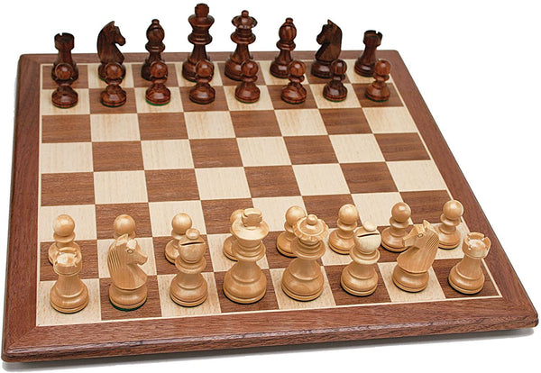 French Staunton Chess Set - Weighted Pieces & Walnut Wood Board 19 in.