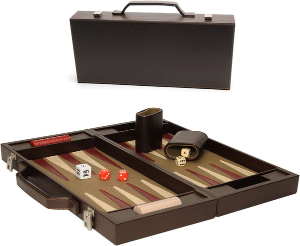 Elegant Brown Backgammon Briefcase - Large