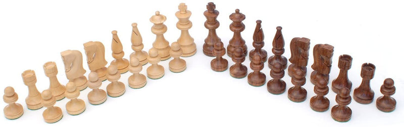 Russian Style Chess & Checkers Game Set - Weighted Chessmen & Wood Board with Storage Drawers 15 in.
