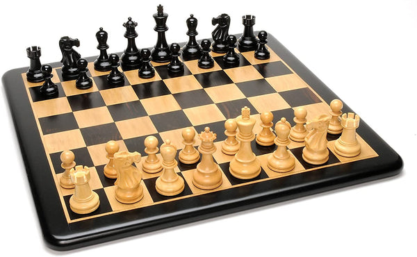 Grand Jacques Ebony Chess Set - Triple Weighted Pieces w/Ebony Wood Board 19 in.