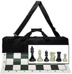WE Games Ultimate Tournament Chess Set with NEW Green Silicone Chess Mat, Canvas Bag & Super Triple Weighted Chessmen with 4 in. King