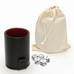 Luxury Brown Leather Dice Cup with Dice and Storage