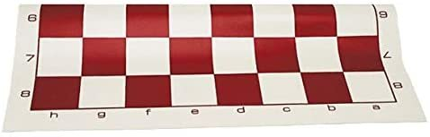 Tournament Roll Up Chess Board - Vinyl with Burgundy Squares