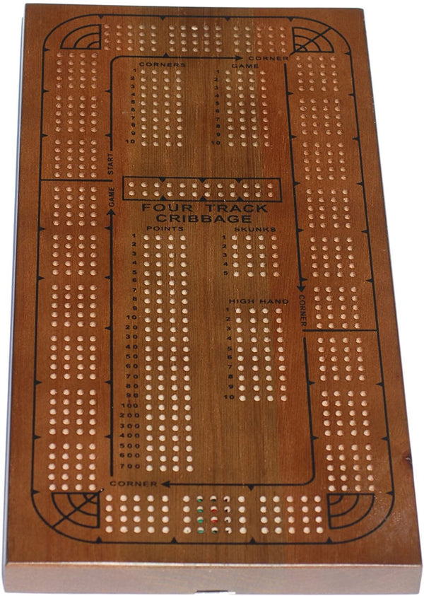 Classic Cribbage Set - Solid Oak Medium Stained Wood Continuous 4 Track Board with Pegs