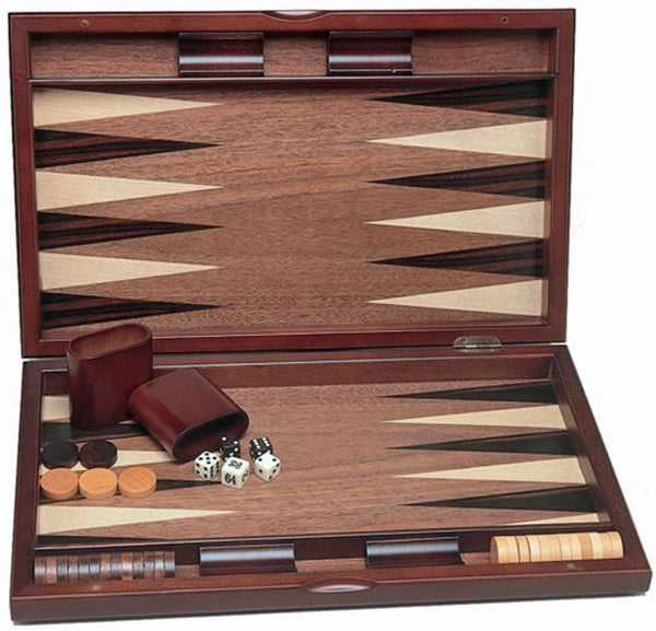 Wood Inlay Backgammon Set in Beachwood- Tournament