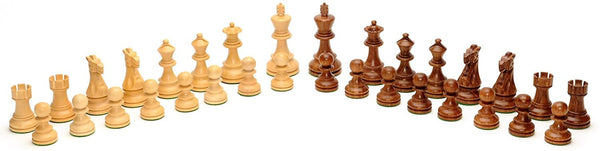 English Style Chess Set - Weighted Pieces & Walnut Root Wood Board 16 in.