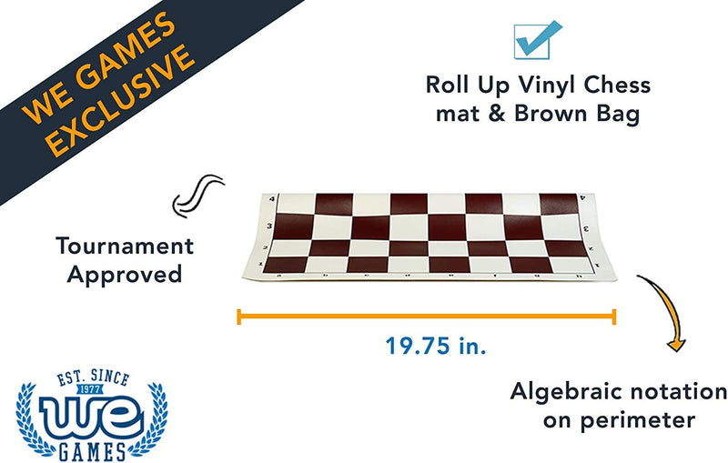 Tournament Chess Set with Brown Bag - 3.75 Inch King Solid Plastic