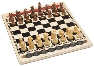 3-in-1 Game Set with Chess, Checkers, Backgammon - Solid Maple Wood Board 17 inch (Made in USA)
