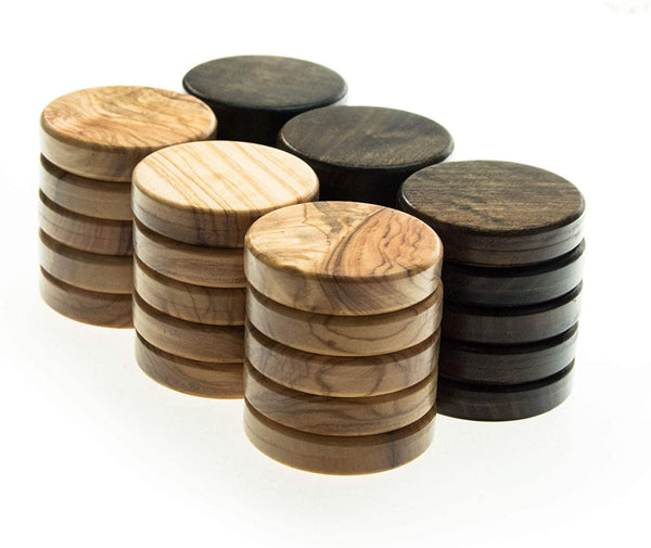 WE Games Olive Wood Backgammon Checkers/Chips in Brown & Natural – 1.5 inch Diameter