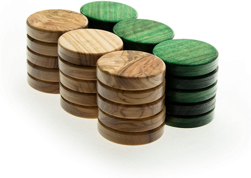 WE Games Olive Wood Backgammon Checkers/Chips in Green & Natural – 1 inch Diameter