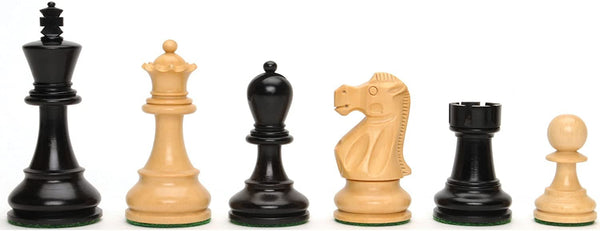 Jacques Chessmen - Weighted & Handpolished Black Stained Wood with 4 in. King