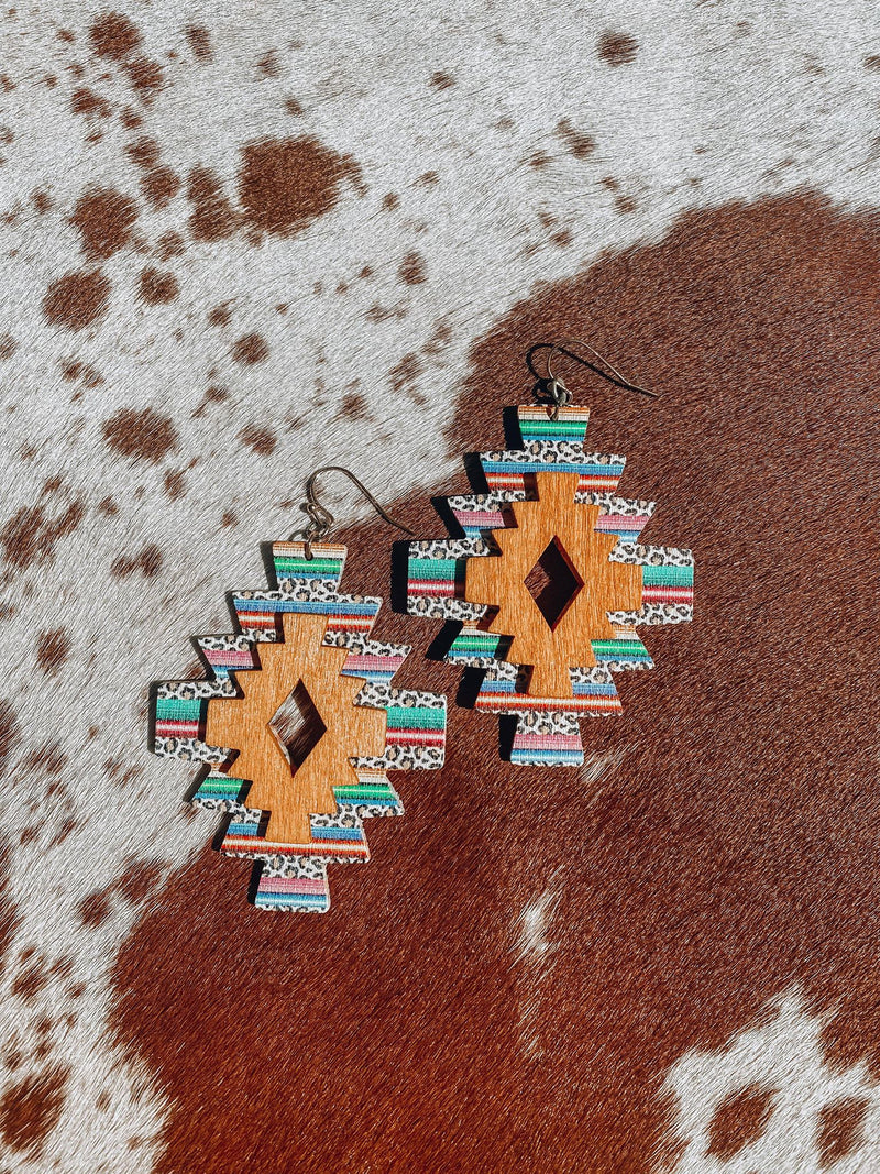 Wild Serape Wooden Earrings