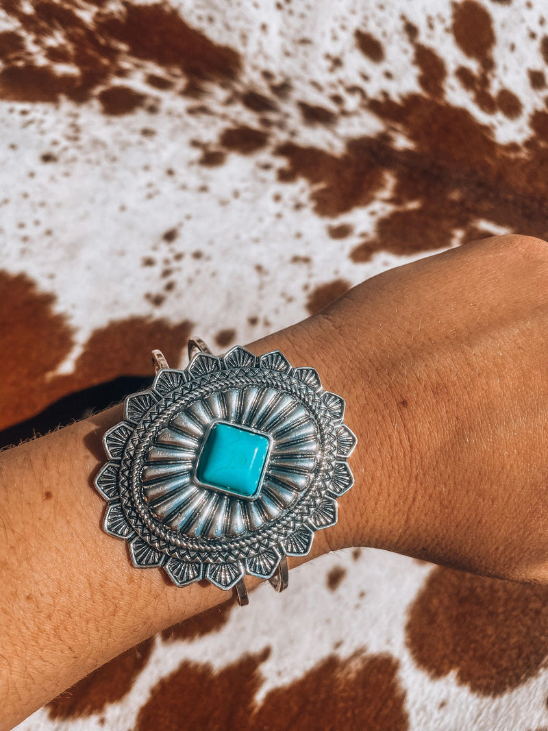 Turquoise & Silver Concho Bangle