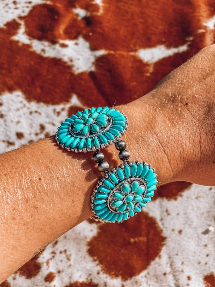Turquoise Flower & Navajo Pearl Stretch Bracelet