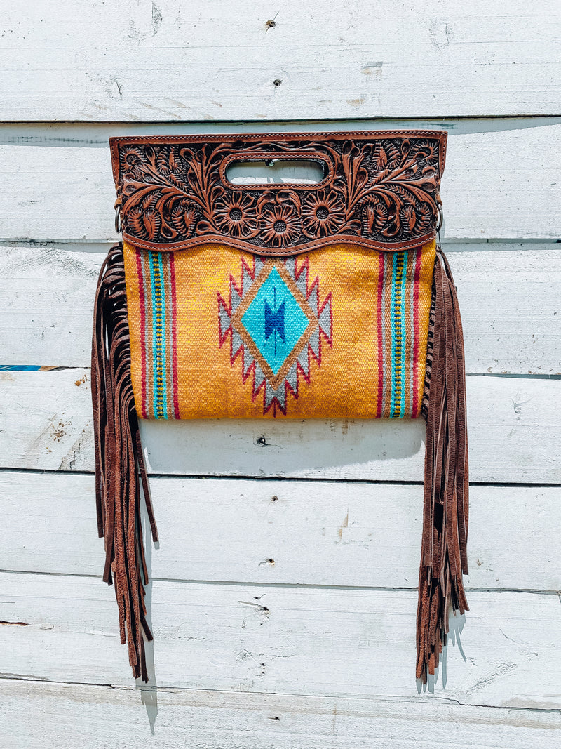Yellow Saddle Blanket Clutch/Crossbody