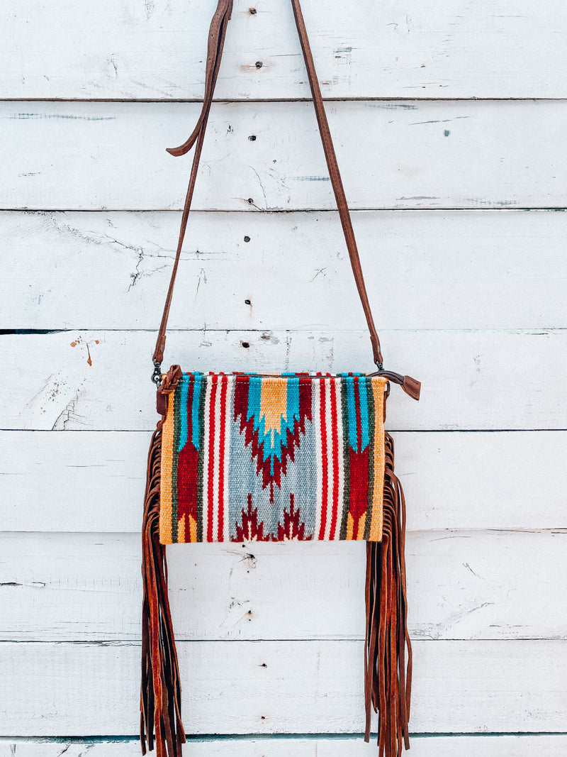 Regular Yellow & Turquoise Saddle Blanket Crossbody