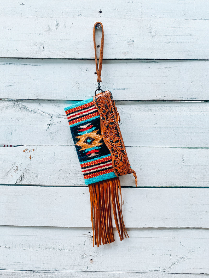 Black & Turquoise Saddle Blanket Wristlet