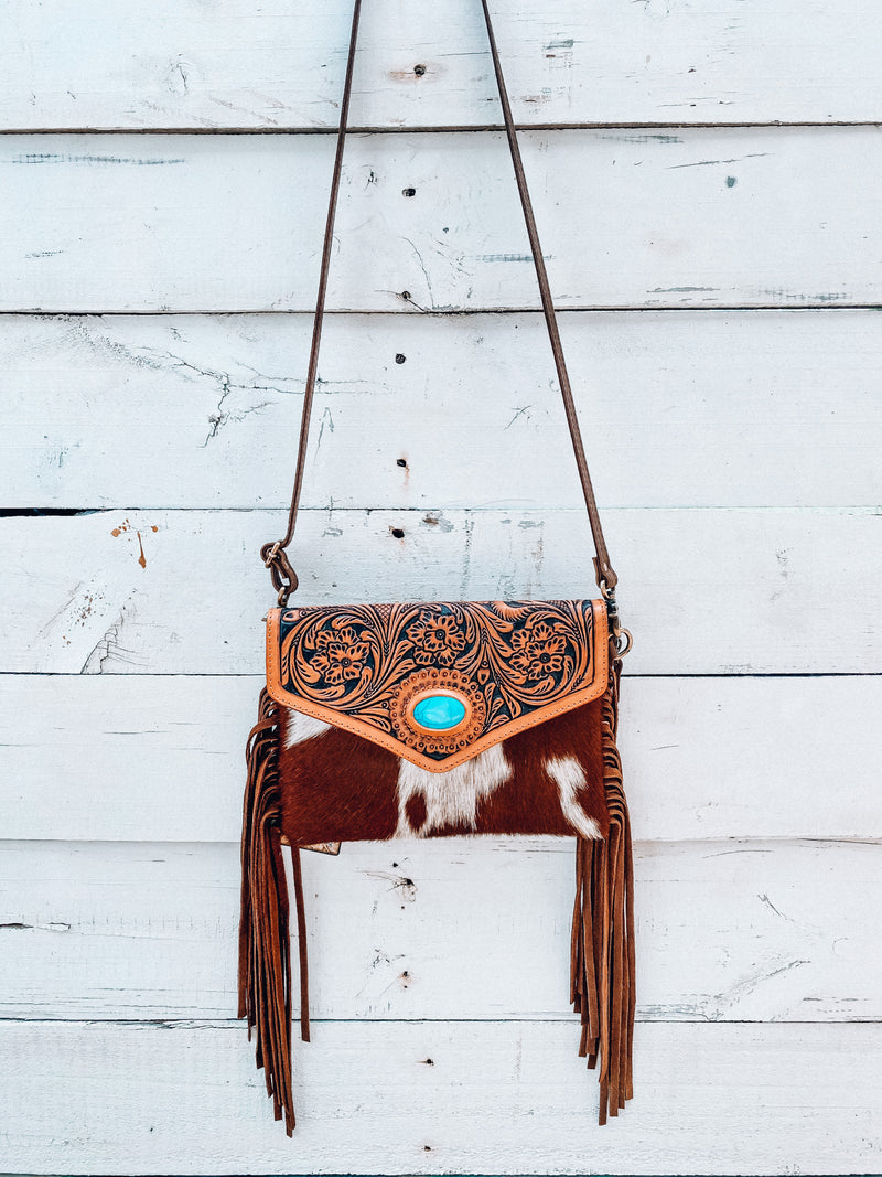 Regular Cowhide Crossbody with Turquoise Stone (1)
