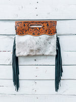 Large Black Cowhide Clutch / Crossbody