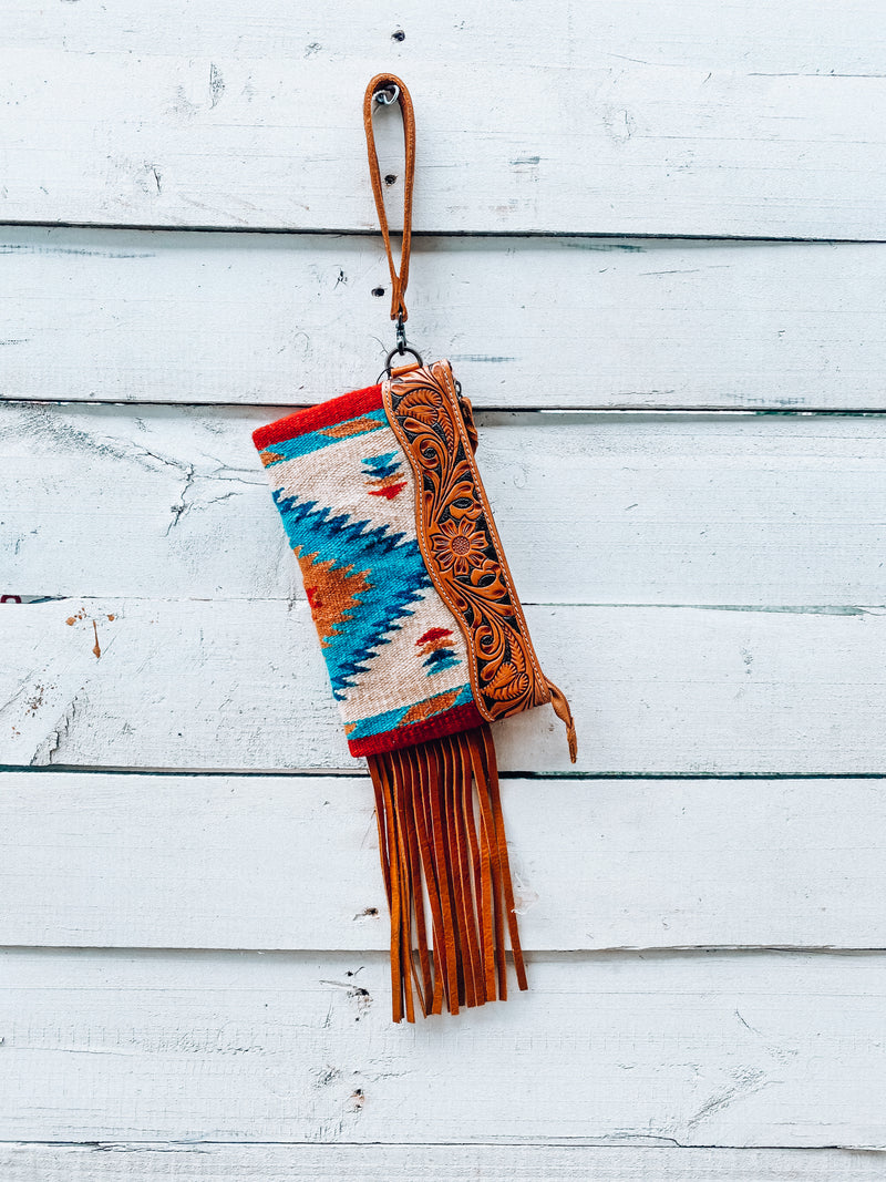 White & Turquoise Saddle Blanket Wristlet