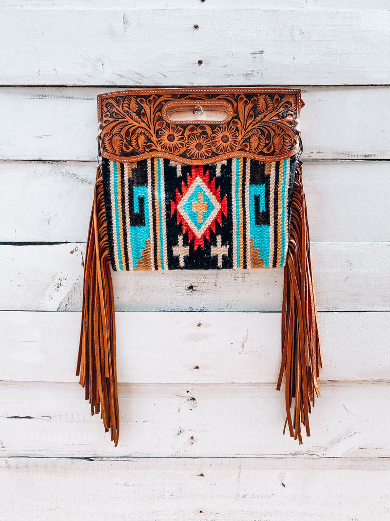 Black & Turquoise Saddle Blanket Clutch/Crossbody