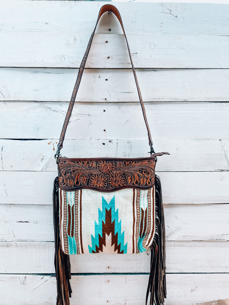 Large Cream/Turquoise Saddle Blanket Crossbody