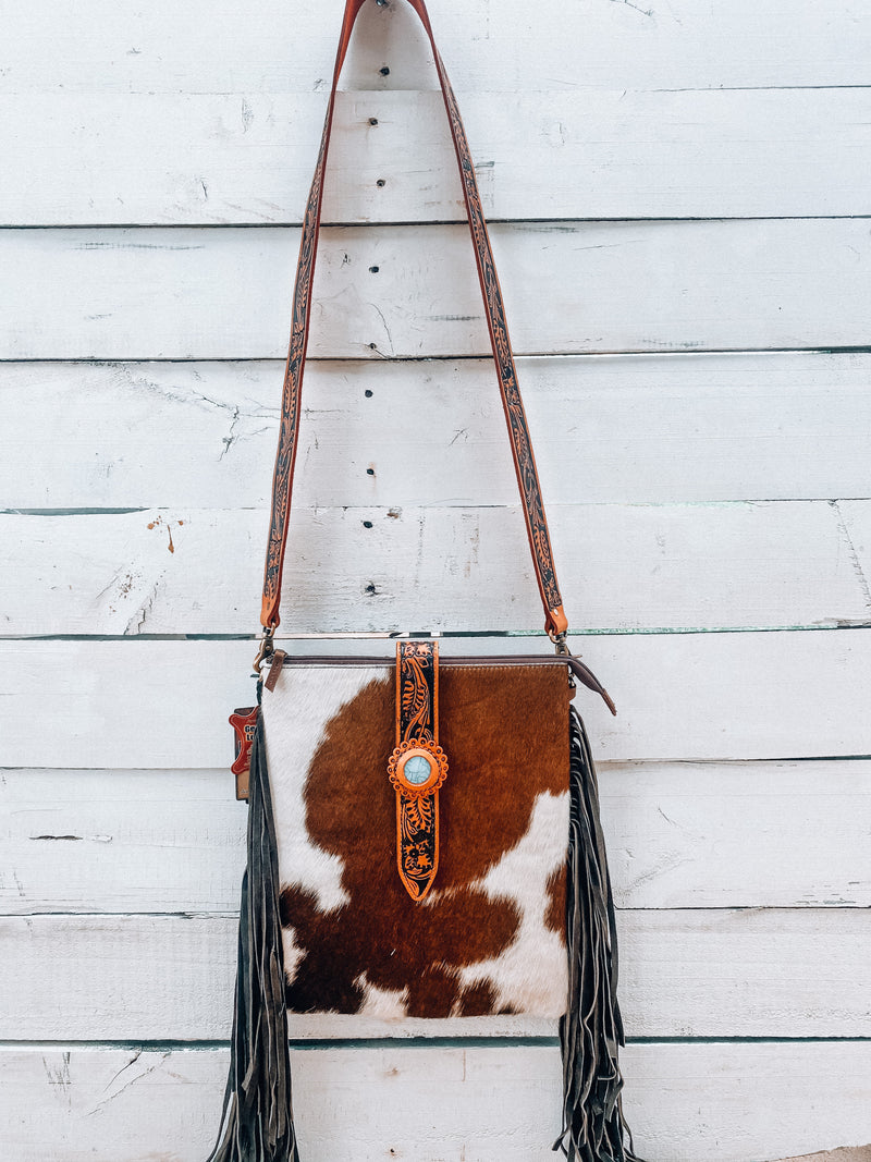 Large Cowhide with Turquoise Crossbody