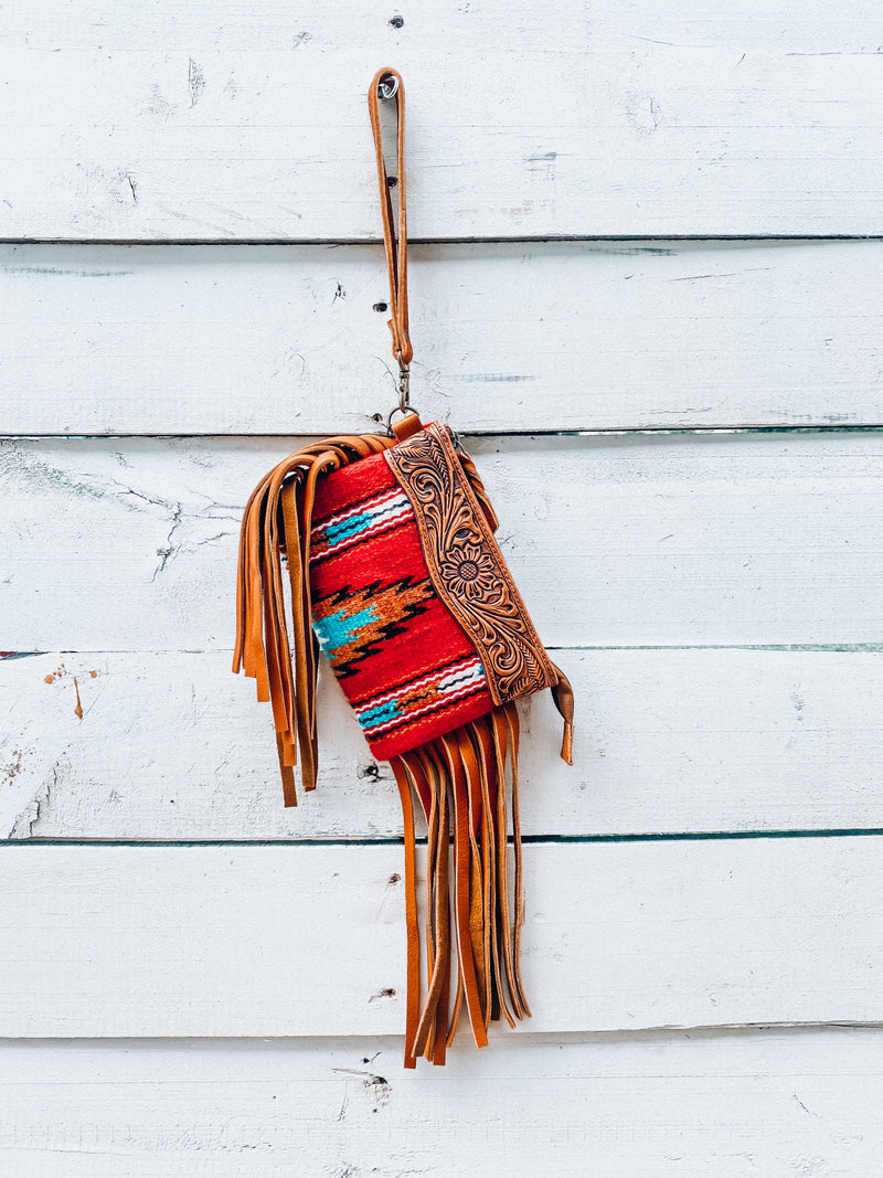 Red Saddle Blanket Wristlet