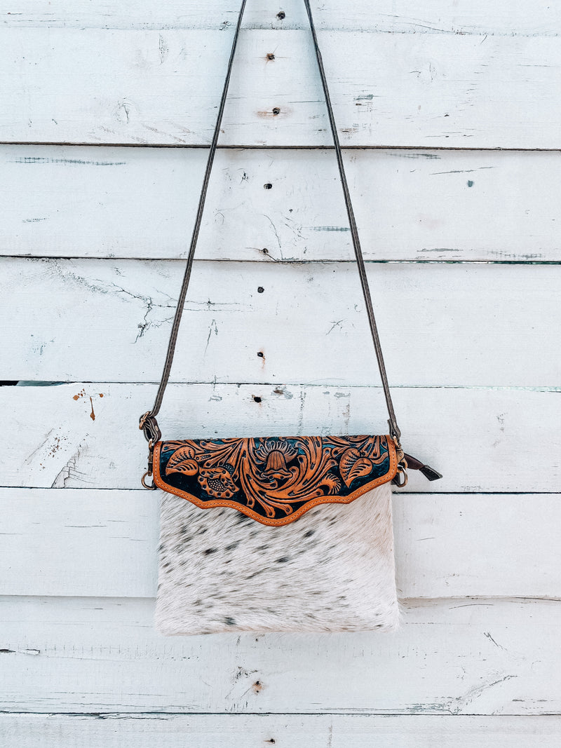 Cowhide & Tooled Leather Crossbody