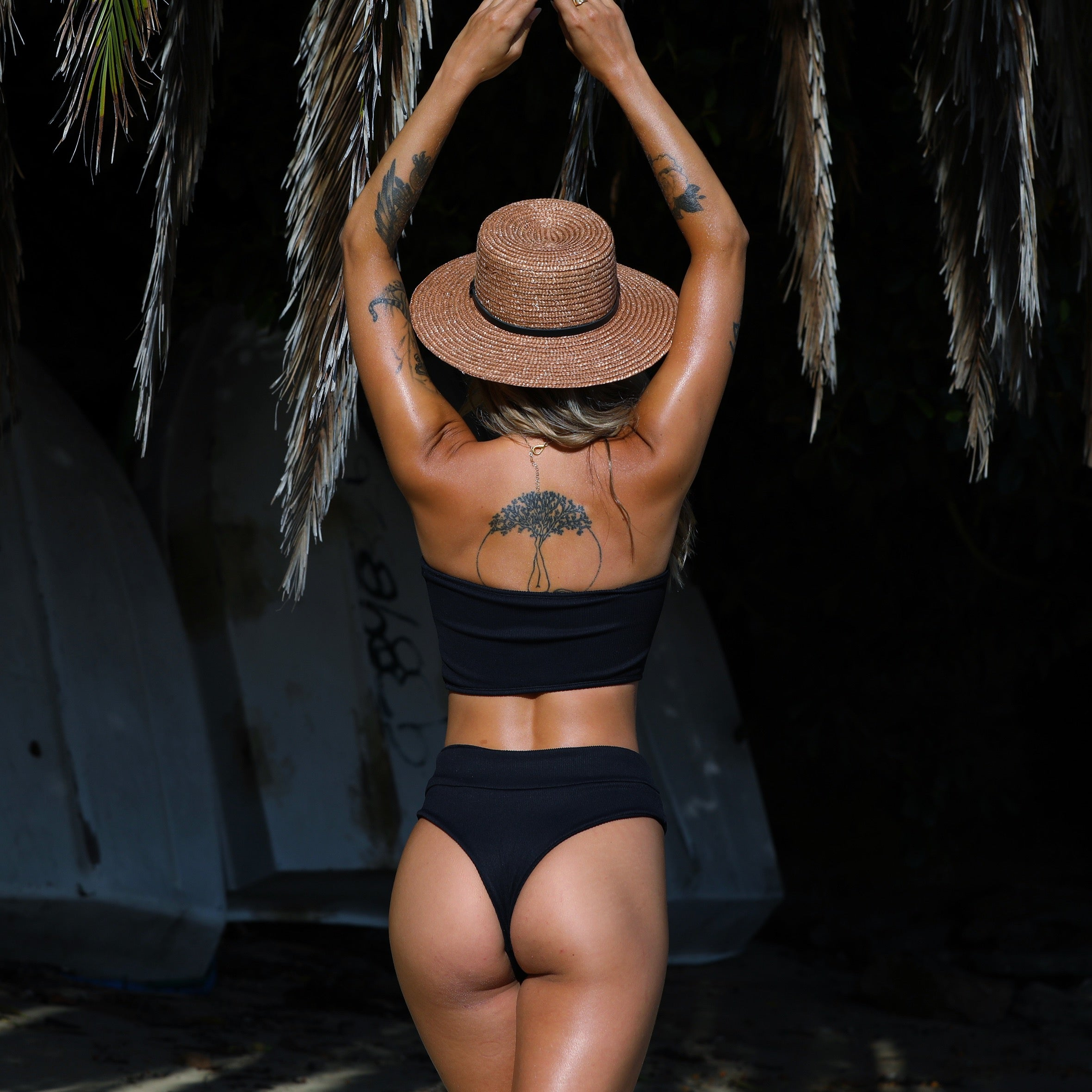 High Waist Cheeky Bikini Bottom - Pitch Black Ribbed